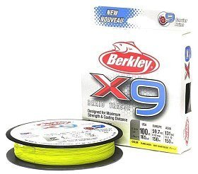 Шнур Berkley X9 fluro green 150м 0,17мм
