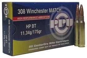 Патрон 308Win PPU Match HP BT 11,34г