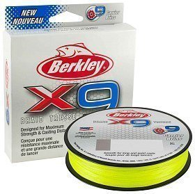 Шнур Berkley X9 fluro green 150м 0,06мм